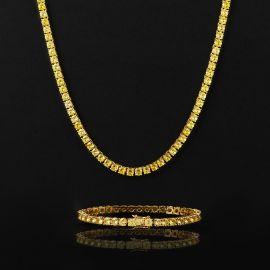 5mm Fancy Yellow Stones Tennis Chain Set in Gold