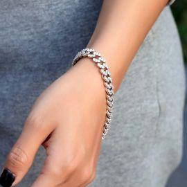 Women's Iced 8mm Cuban Link Bracelet in White Gold