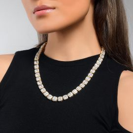 Women's 10mm Iced Baguette Tennis Necklace in Gold