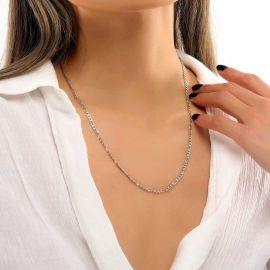 Women's 3mm Figaro Chain in White Gold