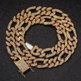 Women's 13mm Iced Figaro Cuban Link Chain