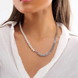 Women's Half Pearl and Steel Cuban Chain Necklace