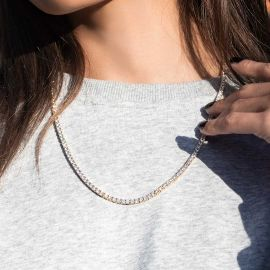 Women's 3mm Tennis Necklace in Gold