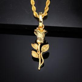 Iced Golden Rose Pendant