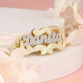 Personalized Two Tone 3D Name Bracelet