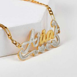 Personalized Two Tone Heart Name Bracelet