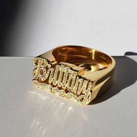 Personalized Heart Carved Name Ring
