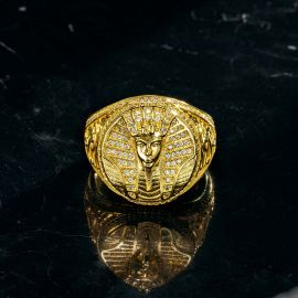 Iced Egyptian Pharaoh Ring in Gold
