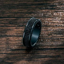 8.5mm Three Row Pave Eternity Band in Black Gold