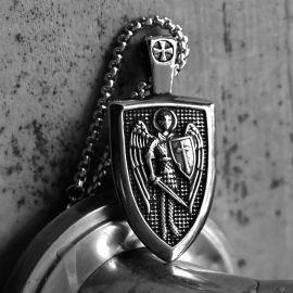 Archangel Saint Michael Shield Stainless Steel Pendant