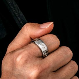 8mm Men's Personalized Engraved Cuban ID Ring
