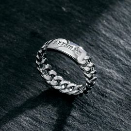 5mm Women's Personalized Engraved Cuban ID Ring