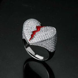 Iced Broken Heart Ring in White Gold