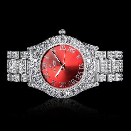 Iced Roman Numerals Red Dial Men's Watch in White Gold