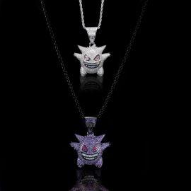 Iced White and Purple Gengar Pendant Set