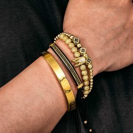 4Pcs Iced Crown Copper Beads and Roman Number Steel Bracelet Set in Gold