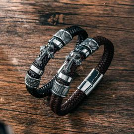 Men's Leather Braid Bracelet with Stainless Steel Cross and Magnet Clasp