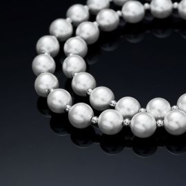 8mm Pearl with Steel Ball Necklace