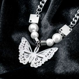 Dice Pearl Butterfly Stainless Steel Necklace