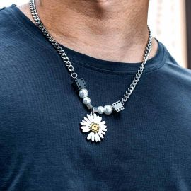 Dice Pearl Daisies Stainless Steel Necklace
