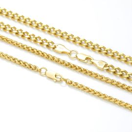 5mm Cuban + 3mm Franco Solid 925 Sterling Silver Chain Set in Gold