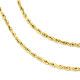 3mm 2 Rope Solid 925 Sterling Silver Chain Set in Gold