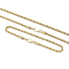 3mm Rope Solid 925 Sterling Silver Chain Set in Gold