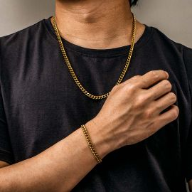 5mm Cuban Link Solid 925 Sterling Silver Chain Set in Gold