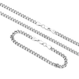 5mm Cuban Link Solid 925 Sterling Silver Chain Set