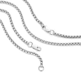 3mm Round Box Solid 925 Sterling Silver Chain Set