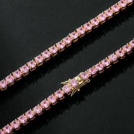 5mm Pink Stones Tennis 18K Gold Chain