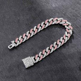 11mm White&Pink Stones Cuban Link Bracelet