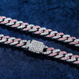 11mm White&Pink Stones Cuban Link Chain