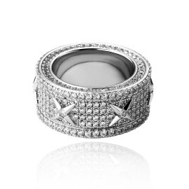 Men's North Star Stones Paved Band in White Gold