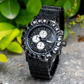 Iced Round Cut Luminous Men's Watch in Black Gold