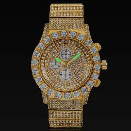 Iced Round Cut Luminous Men's Watch in Gold
