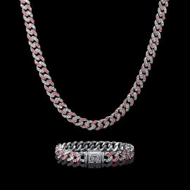 11mm White&Pink Stones Cuban Link Chain and Bracelet Set