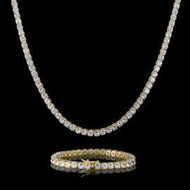 5mm Tennis 18K Gold Chain and Bracelet Set