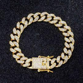 12mm Iced Miami Cuban Bracelet in Gold