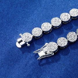 10mm Iced Round Flower Cluster Bracelet in White Gold