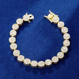 10mm Iced Round Flower Cluster Bracelet in Gold