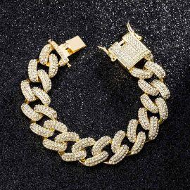 20mm Iced Miami Cuban Bracelet in Gold