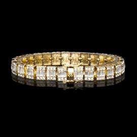 10mm Baguette Clustered Tennis Bracelet in Gold