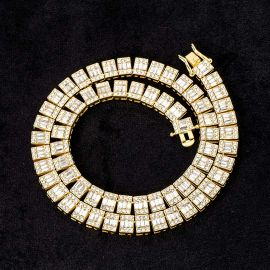 10mm Baguette Clustered Tennis Chain in Gold