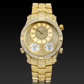 Micro Paved Arabic Numerals Men's Watch in Gold