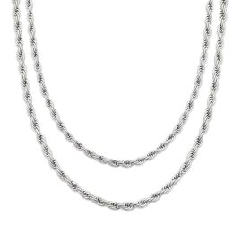3mm 2 Rope Solid 925 Sterling Silver Chain Set