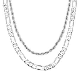 5mm Figaro + 3mm Rope Solid 925 Sterling Silver Chain Set