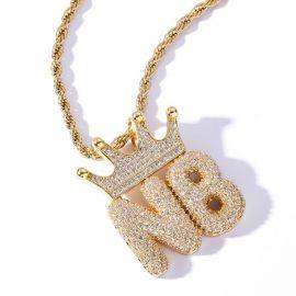 Custom Crown Bubble Letter Pendant in Gold