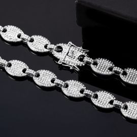 12mm Iced Coffee Bean Chain in White Gold