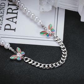 Colorful Butterfly Pearl Cuban Necklace